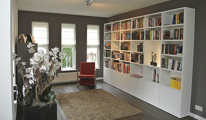 nuvola boekenkast in wit op maat gemaakt